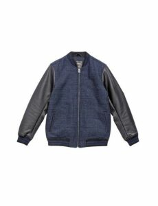 Mens Navy Bomber Jacket With Contrast Sleeve, Blue