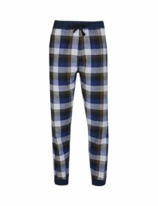 Mens Brushed Navy Check Lounge Pants, Blue