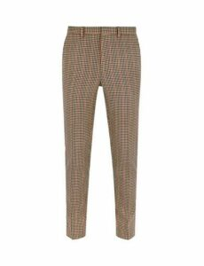 Mens Brown And Red House Check Skinny Fit Suit Trousers, BROWN