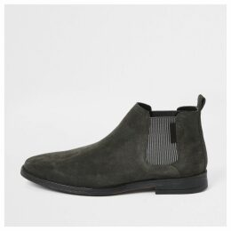 Mens River Island Grey low suede boots