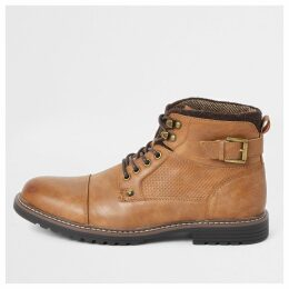 Mens River Island Light Brown lace-up buckle military boots