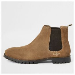 Mens River Island Brown suede Chelsea boots
