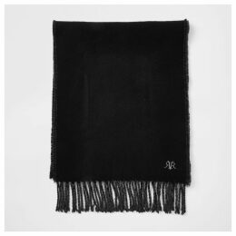 Mens River Island Black RVR embroidered scarf
