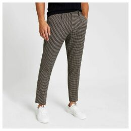 Mens River Island Brown check skinny pleated smart trousers