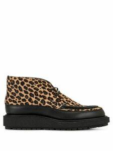 Sacai leopard print boots - Brown