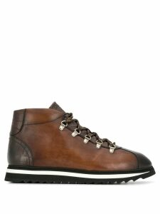 Doucal's embossed lace-up boots - Brown