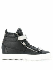 Giuseppe Zanotti contrast strap hi-top sneakers - Black
