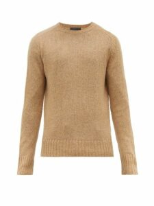 Prada - Ribbed Trim Virgin Wool Sweater - Mens - Camel