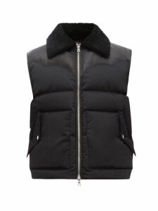 Amiri - Shearling And Leather Trimmed Cotton Gilet - Mens - Black
