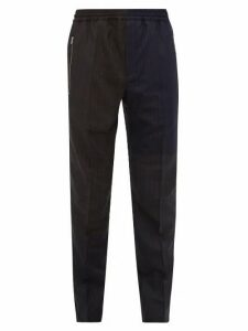 Stella Mccartney - Patchwork Pinstriped Wool Trousers - Mens - Navy