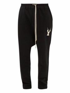 Rick Owens Drkshdw - Drawstring Cotton Track Pants - Mens - Black Cream