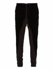 Greg Lauren - Deconstructed Popper Trim Velvet Trousers - Mens - Black