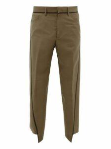 Lanvin - Asymmetric Mohair Blend Trousers - Mens - Camel