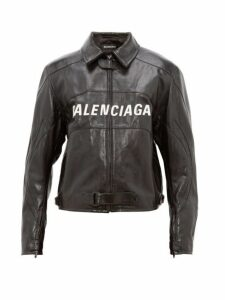 Balenciaga - Oversized Logo Appliqué Leather Biker Jacket - Mens - Black