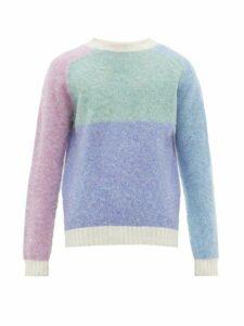 Howlin' - Firecracker Contrast Panel Wool Sweater - Mens - Blue Multi