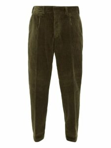 The Gigi - Tapered Cotton Blend Corduroy Trousers - Mens - Dark Green