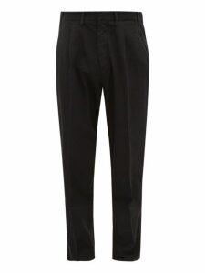 The Gigi - Tapered Herringbone Cotton Blend Trousers - Mens - Black