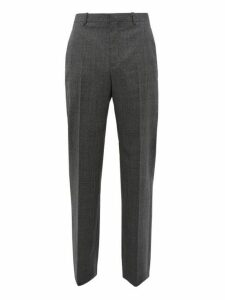 Balenciaga - Prince Of Wales Check Wool Slim Leg Trousers - Mens - Grey