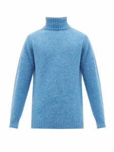Howlin' - Sylvester Virgin Wool Roll Neck Sweater - Mens - Blue