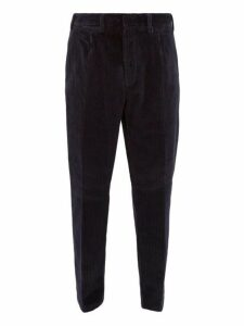 The Gigi - Tapered Cotton Blend Corduroy Trousers - Mens - Navy