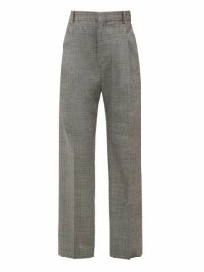 Hope - Well Checked Wide Leg Trousers - Mens - Grey
