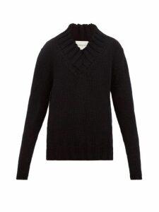 Rochas - V Neck Wool Blend Sweater - Mens - Black