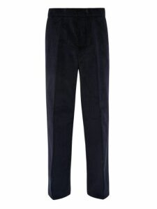 Dunhill - Wide Leg Cotton Corduroy Trousers - Mens - Dark Navy