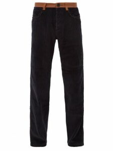 Wales Bonner - Monogram Embroidered Cotton Corduroy Trousers - Mens - Navy