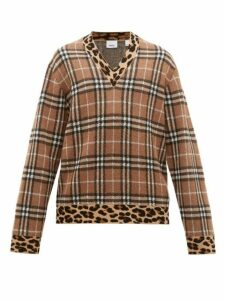 Burberry - George Leopard Print Check Cashmere Blend Sweater - Mens - Beige