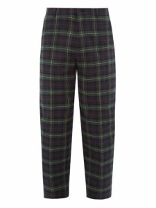 Balenciaga - Cropped Tartan Cotton Tapered Trousers - Mens - Navy Multi