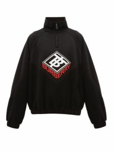 Burberry - Logo Print Fleece And Neoprene Sweatshirt - Mens - Black