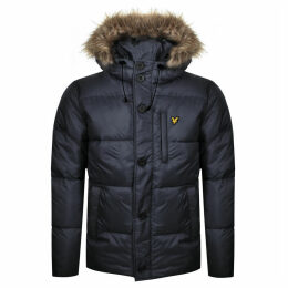 Lyle And Scott Hooded Puffer Bomber Jacket Navy