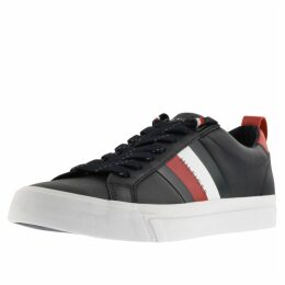 Tommy Hilfiger Flag Detail Leather Trainers Navy