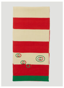 Gucci Stripe Logo Scarf in Red size One Size