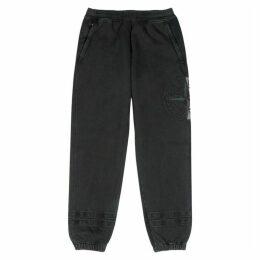 Stone Island Black Logo-embroidered Cotton Sweatpants