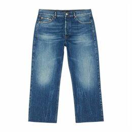 Balenciaga Blue Cropped Straight-leg Jeans