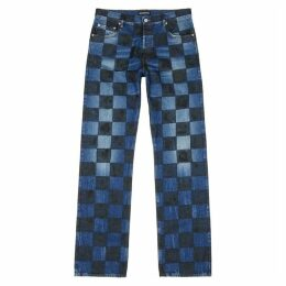 Balenciaga Blue Checked Wide-leg Jeans