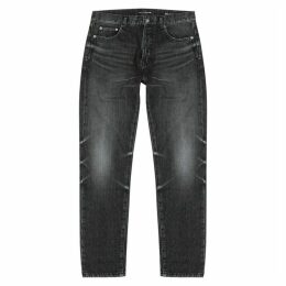 Saint Laurent Grey Faded Straight-leg Jeans