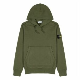 Stone Island Army Green Hooded Cotton Sweatshirt