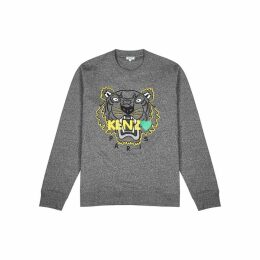 Kenzo Grey Tiger-embroidered Cotton Sweatshirt