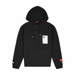 Heron Preston Sticker Label Black Hooded Cotton Sweatshirt