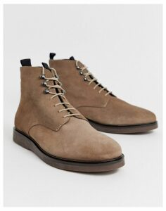 H By Hudson Battle lace up boots in taupe suede