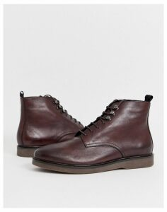 H By Hudson Battle lace up boots in burgundy leather