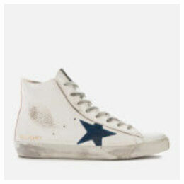 Golden Goose Deluxe Brand Men's Francy Leather Hi-Top Trainers - White Gold/Blue Star