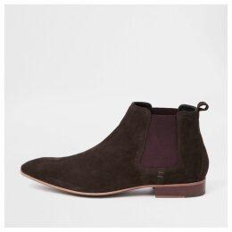 Mens River Island Dark Brown suede Chelsea boots
