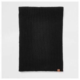 Mens River Island Black Prolific rib knitted scarf