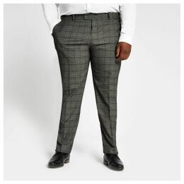 Mens River Island Big and Tall dark Grey check suit trousers