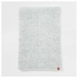 Mens River Island Light Grey Prolific rib knitted scarf
