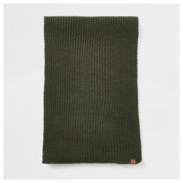 Mens River Island Khaki Prolific ribbed knit scarf