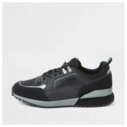 Mens River Island Black camo RVR runner trainers